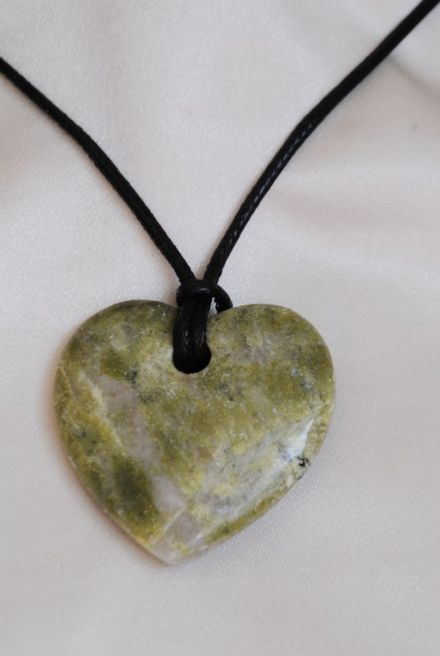 Scottish Green Marble Heart Pendant on Thong EMS08